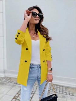 Γυναικείο σακάκι με φόδρα 5863 κίτρινο