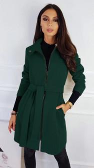 Γυναικείο παλτό με φερμουάρ και ζώνη 3829 πράσινο