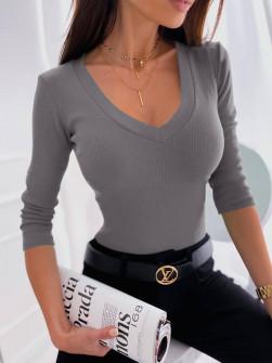 Γυναικεία μπλούζα με στρογγυλή λαιμόκοψη 6032 γκρι