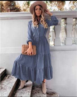 Γυναικείο μακρύ φόρεμα με κουμπιά 5337 μπλε του τζιν
