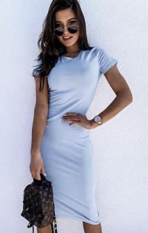Γυναικείο εφαρμοστό φόρεμα μίντι 5159 γαλάζιο