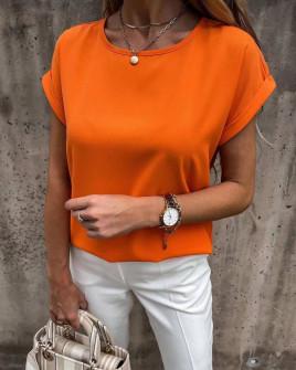 Γυναικεία απλή μπλούζα 6261 πορτοκαλί
