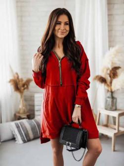 Γυναικείο φόρεμα με φερμουάρ 19877 κόκκινο