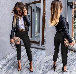 Γυναικείο παντελόνι με πλαϊνή τσέπη 908701 μαύρο