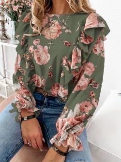 Дамска блуза на цветя 8570 тъмно зелена
