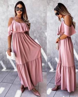 Γυναικείο μακρύ φόρεμα 5701 ροζ