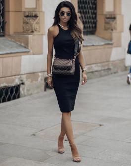 Γυναικείο εφαρμοστό φόρεμα 13621 μαύρο
