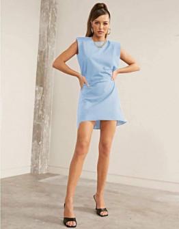 Γυναικείο φόρεμα με βάτες στους ώμους 5151 γαλάζιο