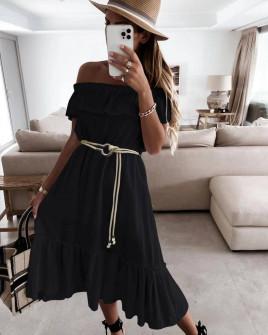 Γυναικείο φόρεμα με ζώνη 5695 μαύρο