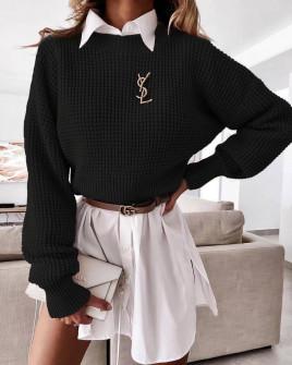 Γυναικείο μονόχρωμο πουλόβερ 00876 μαύρο