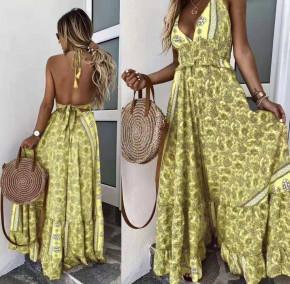 Γυναικείο μακρύ φόρεμα με σχέδια 500309