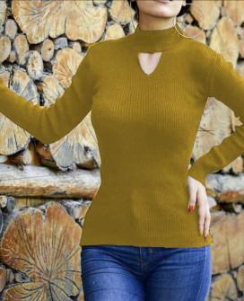 Γυναικεία μπλούζα ημιζιβάγκο 81025 μουσταρδί