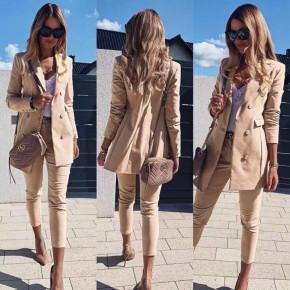 Γυναικείο σετ σακάκι και παντελόνι 3775 μπεζ