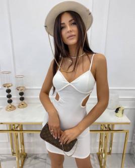 Γυναικείο εφαρμοστό φόρεμα 3110 άσπρο