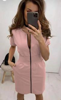 Γυναικείο φόρεμα με φερμουάρ 2865 ροζ