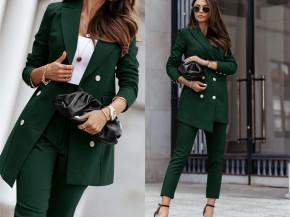 Γυναικείο σετ παντελόνι και σακάκι με φόδρα 5358 πράσινο