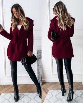 Γυναικείο παλτό με ζώνη 5290 μπορντό