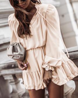 Γυναικείο εντυπωσιακό φόρεμα 7105 μπεζ