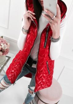 Γυναικείο μπουφάν αμάνικο μακρύ 81908 κόκκινο