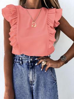 Γυναικεία μπλούζα με βολάν 2154 κοραλί