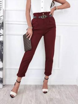 Γυναικείο παντελόνι με ζώνη 18158 μπορντό