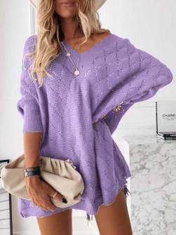 Γυναικείο πλεκτό μπλουζοφόρεμα 88017 μωβ