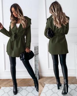 Γυναικείο παλτό με ζώνη χωρίς φόδρα 5290 σκούρο πράσινο