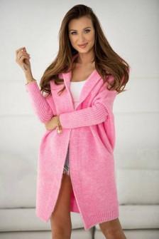 Γυναικεία ζακέτα με κουκούλα 88072 ροζ