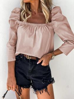 Γυναικεία μπλούζα με φουσκωτό μανίκι 8568 ροζ