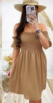 Γυναικείο φόρεμα με σφηκοφωλιά 5727 καμηλό