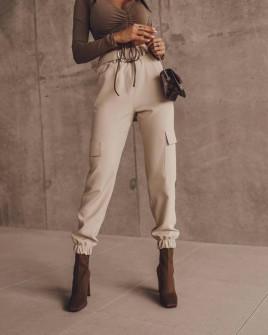 Γυναικείο παντελόνι με ζώνη 5634  μπεζ