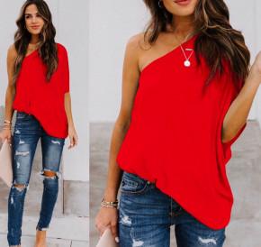 Χαλαρή μπλούζα με έναν ώμο 5084 κόκκινη