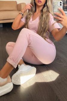 Γυναικείο σετ κοντομάνικο και παντελόνι 3683 ροζ