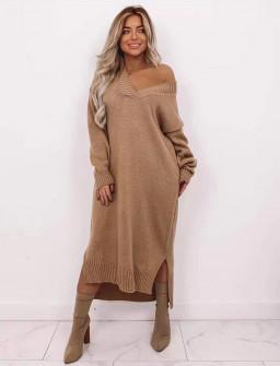Πλεκτό μακρύ φόρεμα 00807 καμηλό