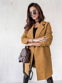 Γυναικείο μπουκλέ παλτό 20055 καμηλό
