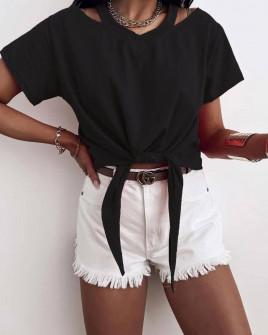 Γυναικεία μπλούζα με δέσιμο 2978 μαύρη