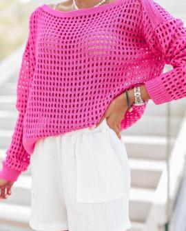 Γυναικεία πλεκτή μπλούζα 4708 φούξια