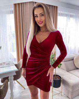 Γυναικείο βελουτέ φόρεμα 6036 μπορντό