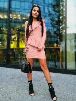 Γυναικείο φόρεμα με ένα μανίκι 2022 ροζ