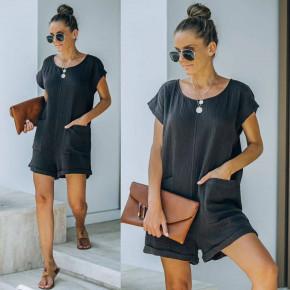 Γυναικεία χαλαρή ολόσωμη φόρμα 21262 μαύρη