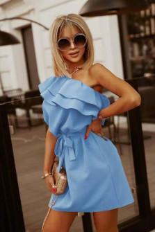 Γυναικείο έξωμο φόρεμα 5776 γαλάζιο