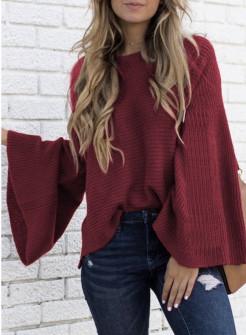 Γυναικείο πουλόβερ με φαρδύ μανίκι 2532 μπορντό