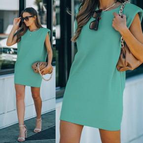 Γυναικείο μπλουζοφόρεμα με βάτες 2984 τυρκουάζ