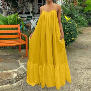 Γυναικείο μακρύ φόρεμα plus size 21481 κίτρινο
