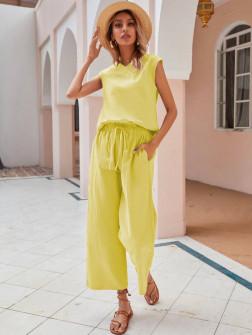 Γυναικείο σετ τοπάκι και παντελόνι 8194 κίτρινο