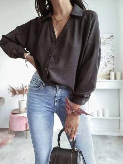 Γυναικείο μονόχρωμο πουκάμισο 5932 μαύρο