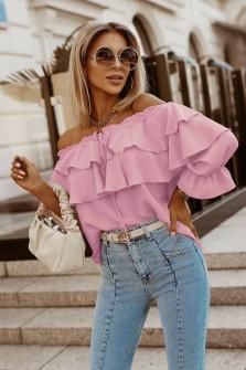 Γυναικεία έξωμη μπλούζα 5895 ροζ