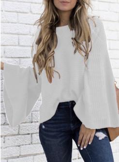 Γυναικείο πουλόβερ με φαρδύ μανίκι 2532 άσπρο