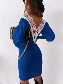 Γυναικείο φόρεμα με εντυπωσιακή πλάτη 3256 μπλε