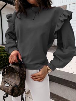 Дамска блуза с обемни ръкави 24155 черна